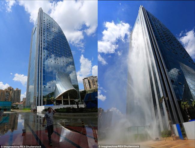 贵州人工瀑布大楼蔚为壮观 人造瀑布吸引游客